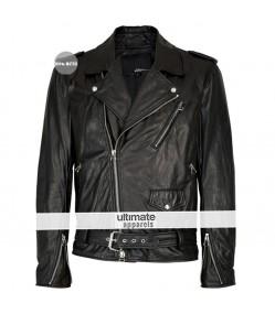 Jared Leto Black Biker Leather Jacket