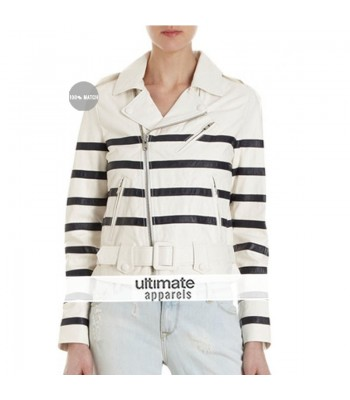 Katie Holmes White Striped Biker Jacket
