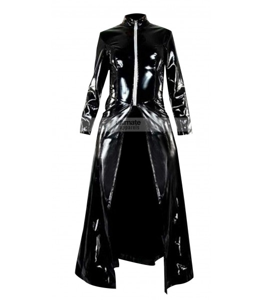 Matrix Reloaded Trinity Black Trench Leather Coat