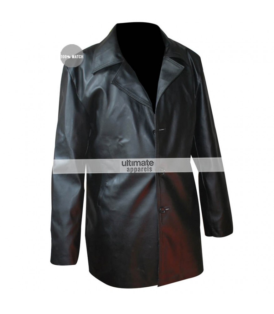 Men S Black Trench Faux Leather Jacket
