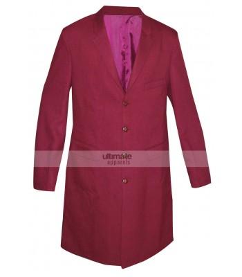 Men's Red Cotton Trench Coat
