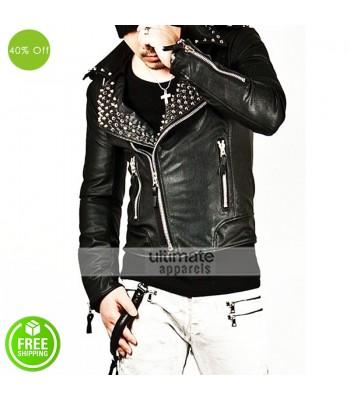 New Men Fashion Mod Tough Masculine Rider Leather Coat