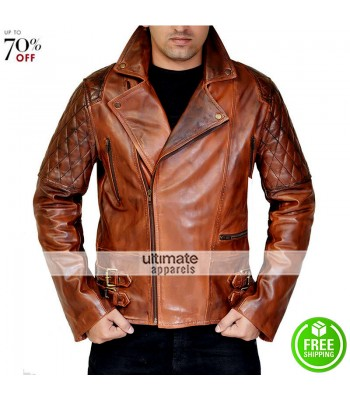 Rustic Vintage Quilted Men Brown Motorcycle Jacket