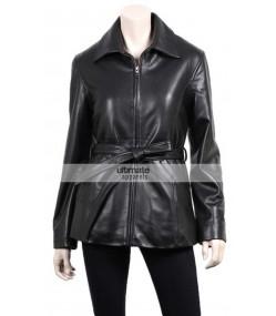 Women's Slim Fit Black Leather Blazer Coat