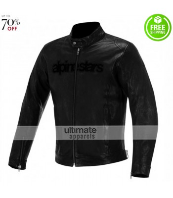 Alpinestars Mens Black Biker Leather Jacket