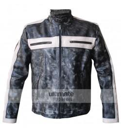 Designer Grey Bomber Biker Leather Jacket for Men