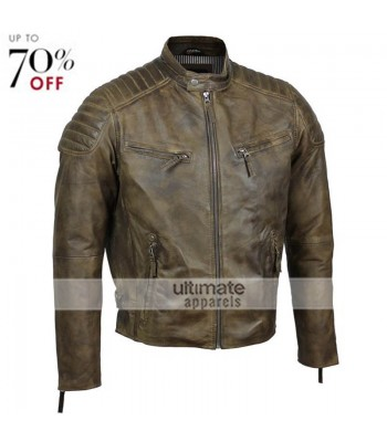 Mens Tailored Fit Retro Style Zipped Biker Jacket Real Leather Tan Brown Urban