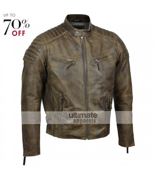 Mens Slim Fit Antique Washed Brown Urban Retro Biker Jacket