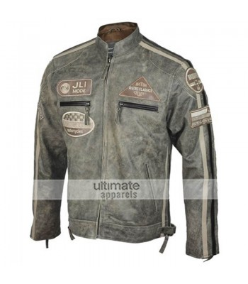 Mens Jli Mode Desert Vintage Urban Retro Biker Jacket