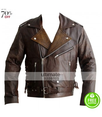 Terminator 1984 Arnold Distressed Brown Motorcycle Jacket