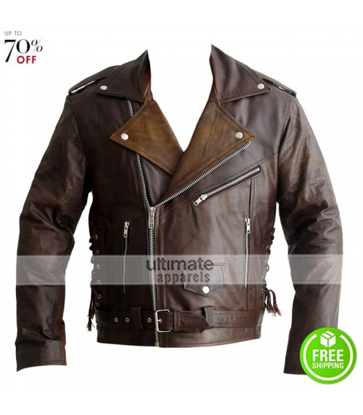 Terminator 1984 Arnold Distressed Brown Motorcycle Jacket