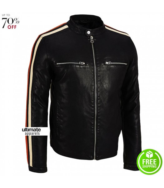 Wilsons Leather Mens Stripe Sleeve Faux Jacket