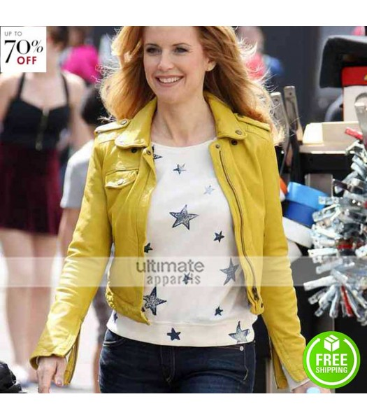 Kelly Preston Yellow Ladies Leather Jacket