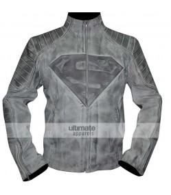 Superman Denim Style Black/White Distressed Jacket