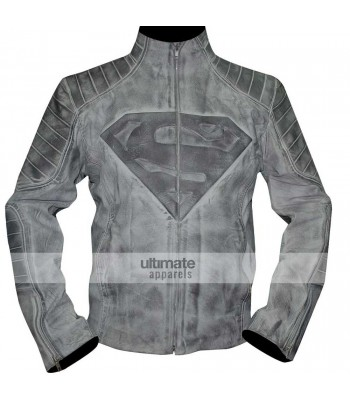 Superman Denim Style Black/White Distressed Jacket
