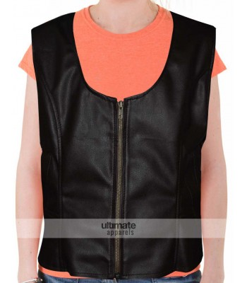 Women's Slim Fit Brown Faux Moto Vest