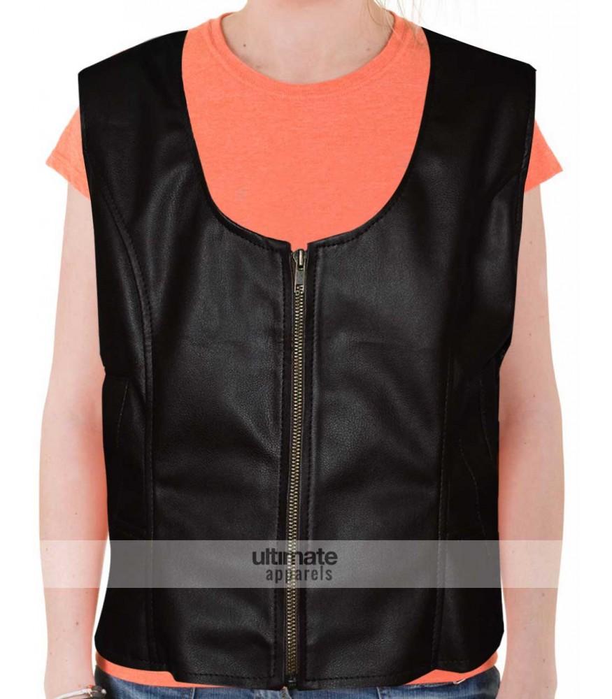 Women's Slim Fit Brown Faux Moto Vest