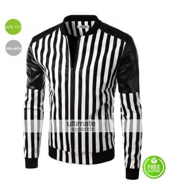 2016 Designers Slim Fit Black and White Stripes Jacket