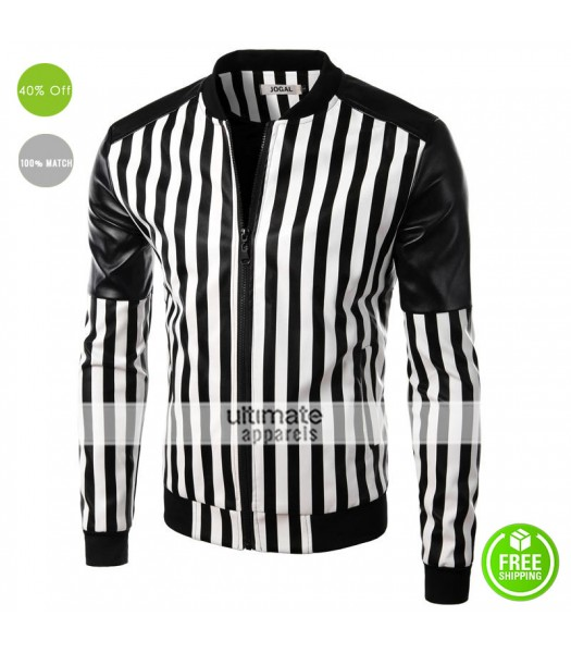 2016 Designers Slim Fit Black and White Stripes Jacket