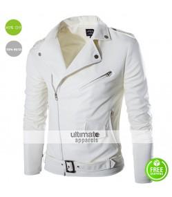 Belted Rider White Motorcycle Men's Jacket