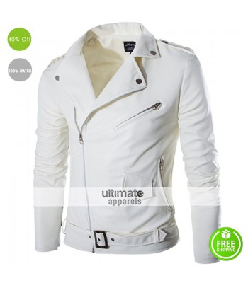 Belted Rider White Motorcycle Men's Jacket