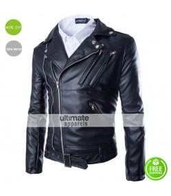 Black Fashion Men Short Slim Fit Collar Leather Jacket