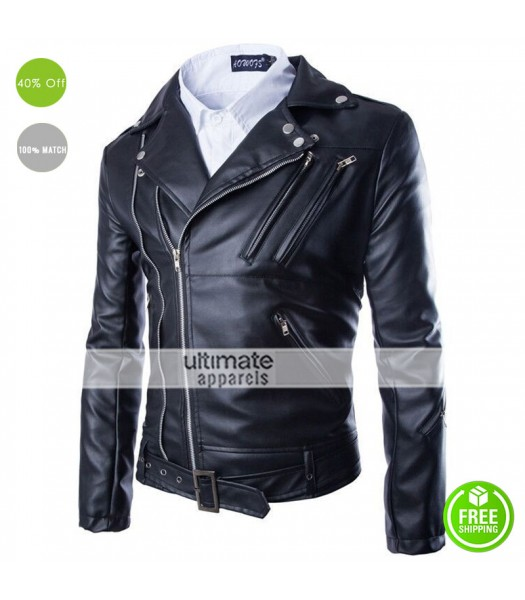 Black Fashion Men Short Slim Fit Collar Leather Jacket