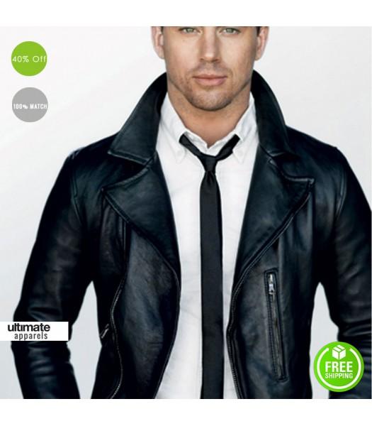 Channing Tatum Black Slim Fit Leather Jacket