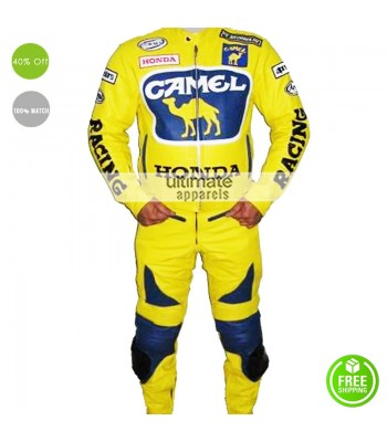 Honda Camel Yellow Motorcycle Racing Suit Jacket