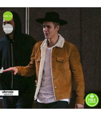 Justin Bieber Saint Laurent Shearling Suede Leather Jacket