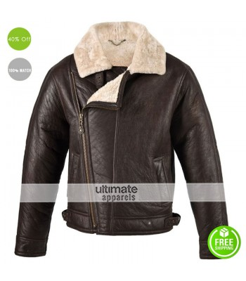 Men Chocolate Sheepskin Aviator Flying Jacket