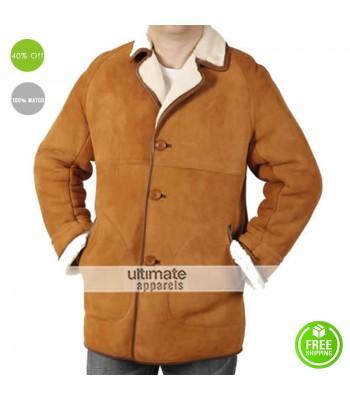 Men Classic Sheepskin Camel Brown Coat