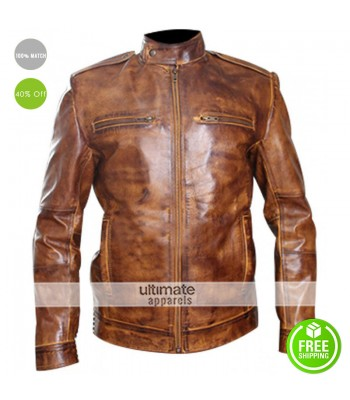 Men Designer Rider Bronze Leather Jacket