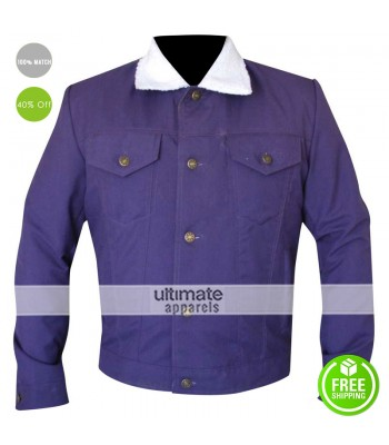 Men/Women Purple Cotton Jacket With Fur Collar