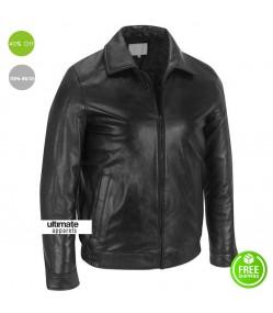 Men Real Classic Slim Fit Black Leather Jacket