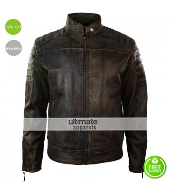 Men Retro Vintage Distressed Leather Jacket