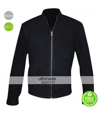 Men Suede Black Formal Style 2016 Fashion Jacket