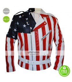 American Flag 2016 Men's Rider Faux Leather Jacket