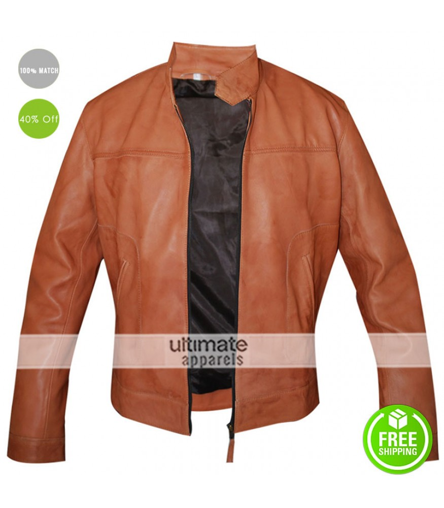 Men's Slim Fit Light Brown Faux Leather Jacket