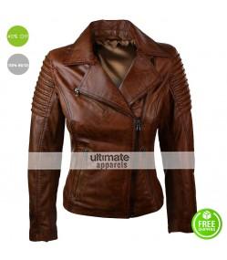 Real Lambskin Brown Biker Women Vintage Jacket