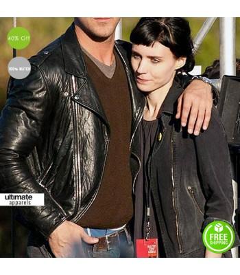 Ryan Gosling Black Biker Leather Jacket