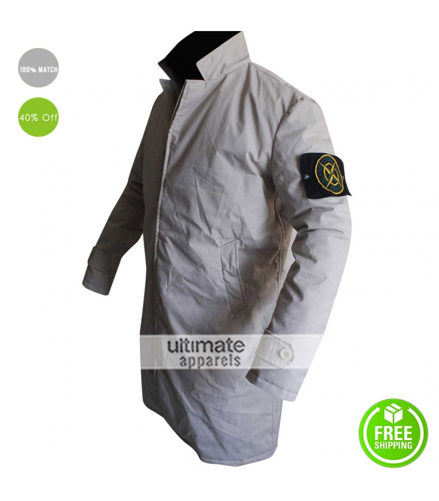 buy hot-selling real entire collection Stone Island Beige Trench Track Coat Green Street