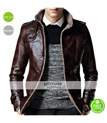 Strap Pocket Dark Brown Shearling Leather Jacket