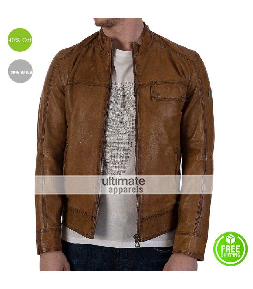 Stylish Hugo Boss Brown Men Leather Jacket