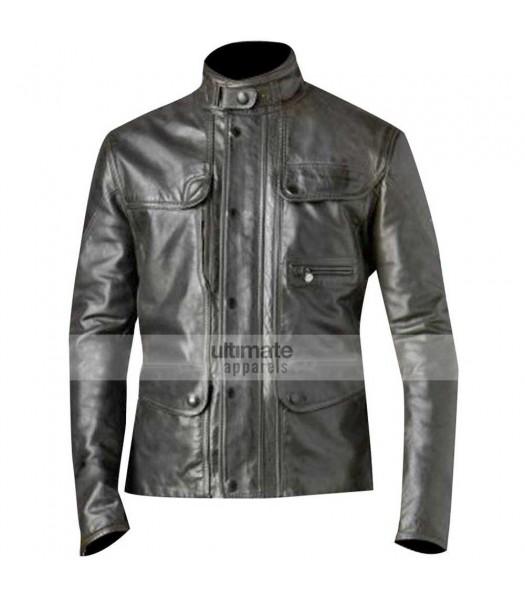Terminator 5 Genisys Arnold Black Leather Jacket