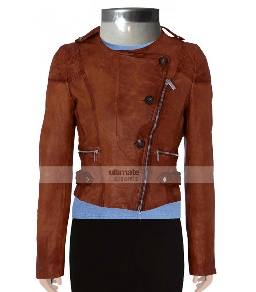 Ashley Benson Brown Quilted Branded Jacket