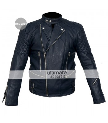 Brando Blue Biker Quilted Leather Jacket For Men
