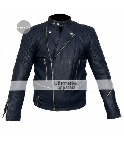 Brando Blue Biker Quilted Leather Jacket For Men