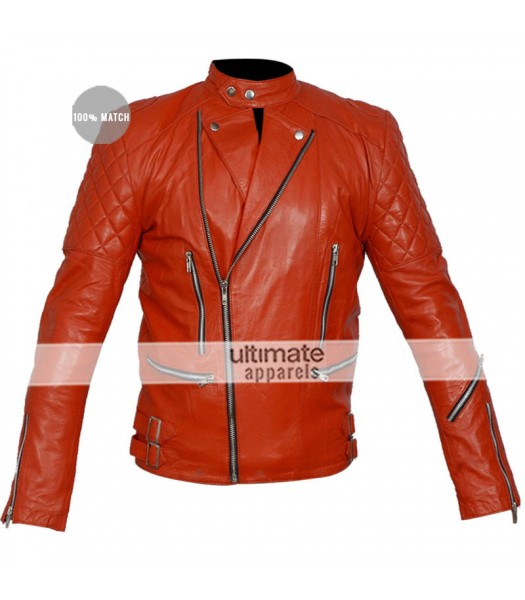 Brando Red Men's Quilted Motorcycle Leather Jacket