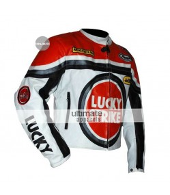 Lucky Strike Red and White Replica Leather Jacket